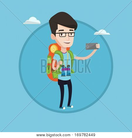 Hiking caucasian tourist taking selfie. Tourist with backpack and binoculars taking selfie with cellphone. Tourist taking selfie. Vector flat design illustration in the circle isolated on background.