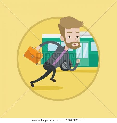 Man running to catch bus. Caucasian man running for outgoing bus. Guy chasing a motorbus. Latecomer man running to reach a bus. Vector flat design illustration in the circle isolated on background.