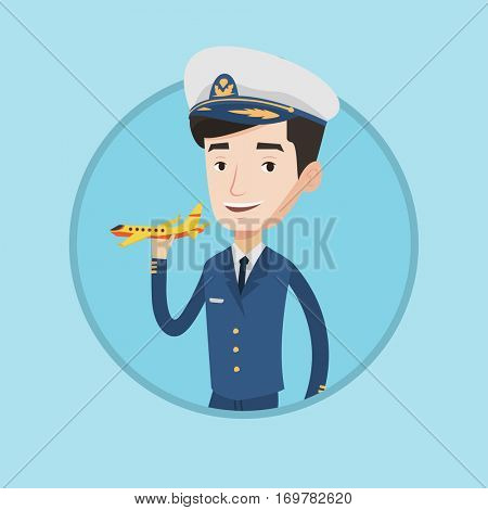 Caucasian airline pilot holding a model airplane in hand. Cheerful airline pilot in uniform. Happy confident pilot model airplane. Vector flat design illustration in the circle isolated on background.