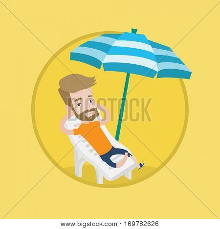 Hipster man sitting in a chaise longue at the beach. Young happy man resting on holiday while sitting under umbrella at the beach. Vector flat design illustration in the circle isolated on background.