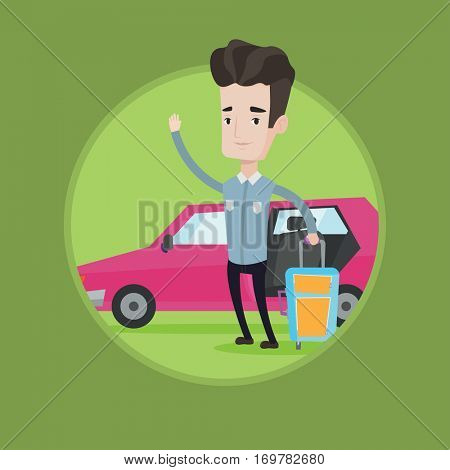 Caucasian man standing on the background of car and waving. Cheerful man traveling by car. Young man going to vacation by car. Vector flat design illustration in the circle isolated on background.