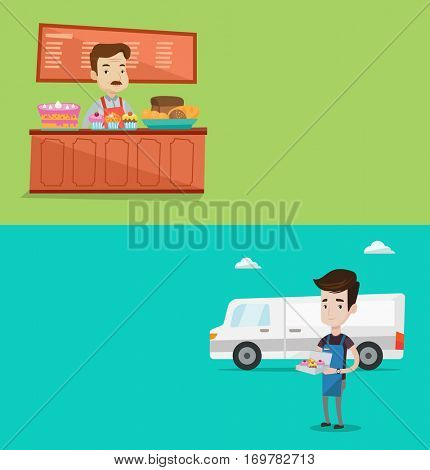 Two business banners with space for text. Vector flat design. Horizontal layout. Bakery worker offering different pastry. Bakery worker standing behind the counter. Baker working at at the bakery.