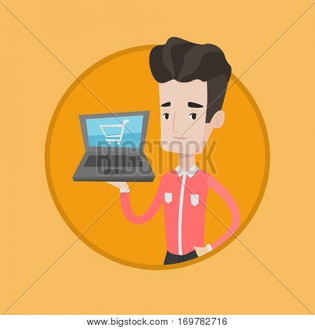 Caucasian man using laptop for shopping online. Man holding laptop with shopping trolley on a screen. Man doing online shopping. Vector flat design illustration in the circle isolated on background.