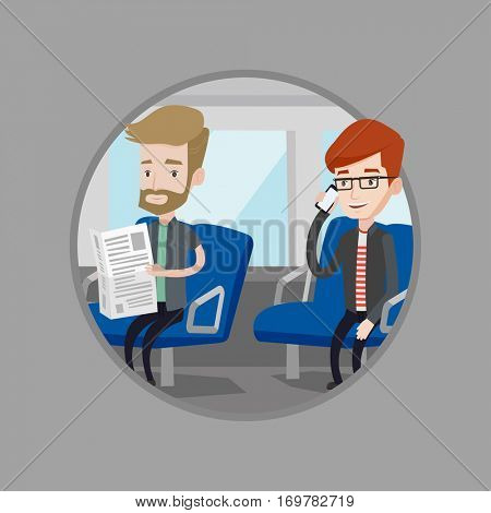 Man using mobile phone in public transport. Caucasian man reading newspaper in public transport. People traveling by public transport. Vector flat design illustration in circle isolated on background.