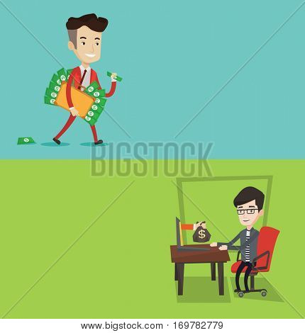 Two business banners with space for text. Vector flat design. Horizontal layout. Caucasian businessman committing economic crime. Happy businessman stealing money. Bribery and economic crime concept.