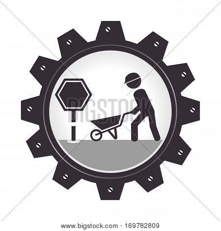 monochrome gear wheel with man and wheelbarrow vector illustration