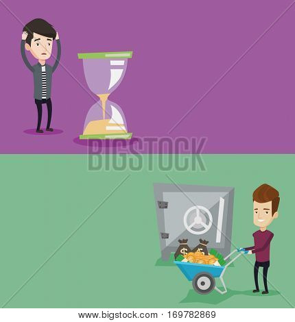 Two business banners with space for text. Vector flat design. Horizontal layout. Desperate businessman looking at hourglass. Businessman worrying about deadline term. Time management, deadline concept