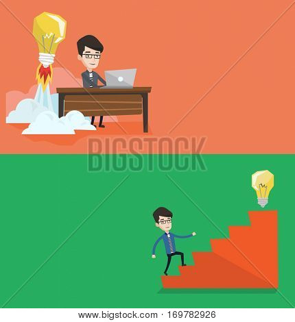 Two business banners with space for text. Vector flat design. Horizontal layout. Businessman working on laptop and idea bulb taking off behind him. Man having business idea. Business idea concept.