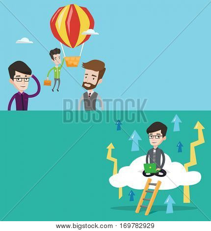 Two business banners with space for text. Vector flat design. Horizontal layout. Two employees looking at their successful colleague. Worker flying away in balloon from his less successful colleagues.