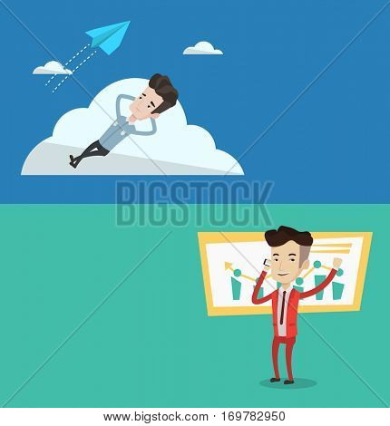Two business banners with space for text. Vector flat design. Horizontal layout. Young businessman lying on a cloud and looking at flying paper plane. Business man relaxing on a cloud.
