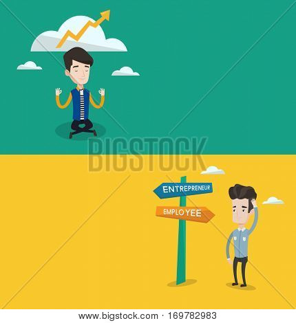 Two business banners with space for text. Vector flat design. Horizontal layout. Young man standing at road sign with two career pathways - entrepreneur and employee. Man choosing career pathway.