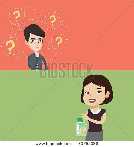 Two business banners with space for text. Vector flat design. Horizontal layout. Happy business woman holding money jar with coins and banknotes. Business woman putting dollar money into glass jar.