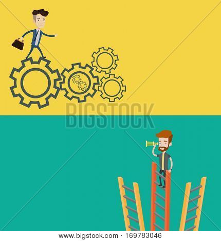 Two business banners with space for text. Vector flat design. Horizontal layout. Businessman standing on ladder and looking through spyglass for business opportunities. Business opportunities concept.