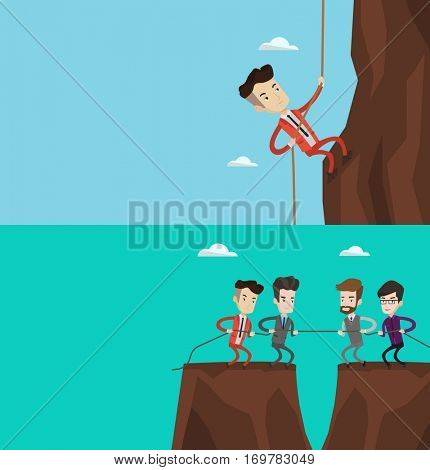 Two business banners with space for text. Vector flat design. Horizontal layout. Businessman climbing a mountain. Man in business suit trying to reach the top of mountain. Business challenge concept.