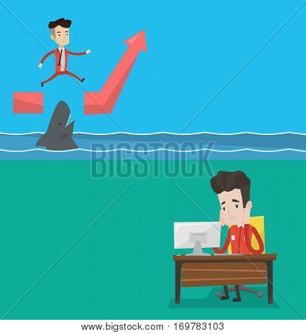 Two business banners with space for text. Vector flat design. Horizontal layout. Exhausted office worker sitting at workplace. Overworked tired office worker working with his head propped on hand.
