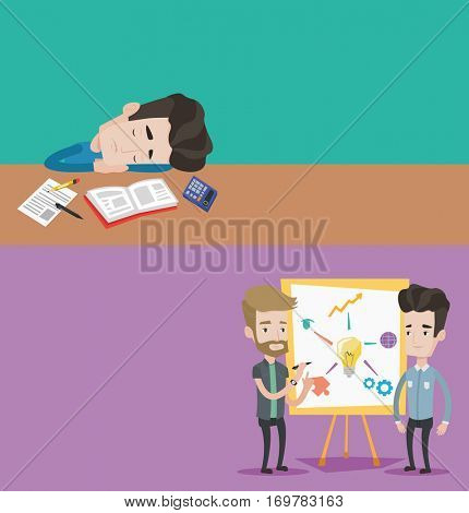 Two educational banners with space for text. Vector flat design. Horizontal layout. Exhausted student sleeping at the desk with book and exercise book. Tired caucasian student sleeping after learning.