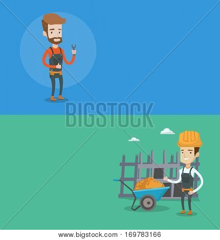 Two construction banners with space for text. Vector flat design. Horizontal layout. Builder in hard hat giving thumb up. Builder in helmet with thumb up standing on a background of construction site.