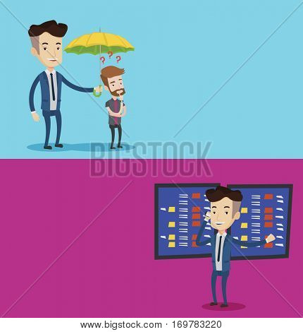 Two business banners with space for text. Vector flat design. Horizontal layout. Businessman talking on mobile phone on the background of display of stock market quotes. Stockbroker at stock exchange.