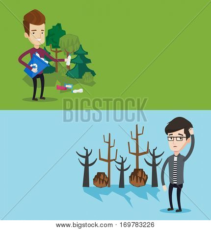 Two ecology banners with space for text. Vector flat design. Horizontal layout. Man scratching head on background of dead trees. Dead forest caused by global warming.Eenvironmental destruction concept
