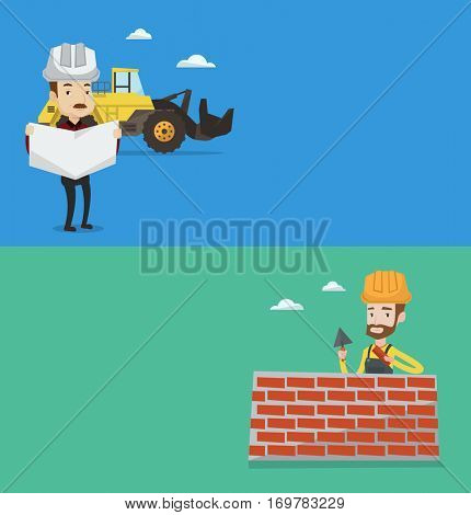 Two construction banners with space for text. Vector flat design. Horizontal layout. An engineer watching a blueprint. An engineer with engineer blueprint standing on a background of excavator.