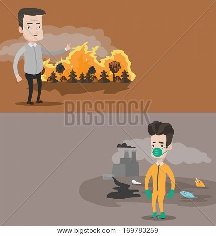 Two ecology banners with space for text. Vector flat design. Horizontal layout. Man standing on the background of forest fire. Man pointing at forest in fire. Concept of environmental destruction.