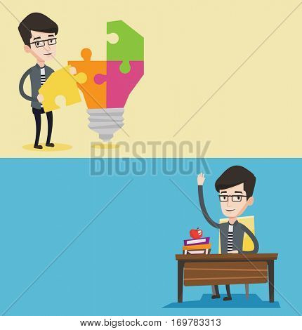 Two educational banners with space for text. Vector flat design. Horizontal layout. Student raising hand for an answer. Student sitting at the desk with raised hand. Schoolboy raising hand at lesson.