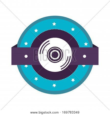 color silhouette with compact disc vector illustration