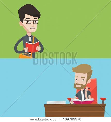 Two educational banners with space for text. Vector flat design. Horizontal layout. Young student thinking about homework. Pensive student writing homework in exercise book. Student doing homework.