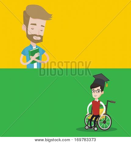 Two educational banners with space for text. Vector flat design. Horizontal layout. Graduate sitting in wheelchair. Student sitting in wheelchair. Disabled happy graduate sitting in wheelchair.