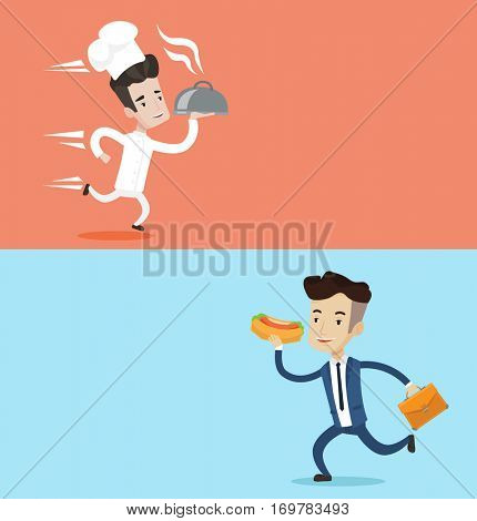 Two food banners with space for text. Vector flat design. Horizontal layout. Chef in a cap and white uniform running. Young cheerful chef holding a cloche. Smiling chef fast running with a cloche.