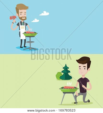 Two food banners with space for text. Vector flat design. Horizontal layout. Hipster man cooking meat on the barbecue grill. Young man preparing food on the barbecue grill. Man having outdoor barbecue