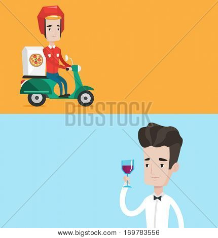 Two food and drink banners with space for text. Vector flat design. Horizontal layout. Man delivering pizza on scooter. Courier driving a motorbike and delivering pizza. Concept of food delivery.