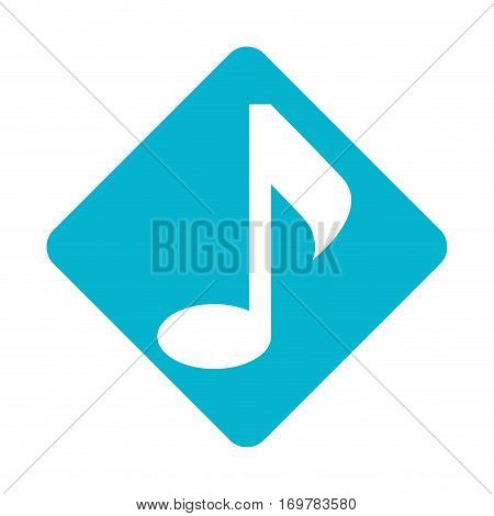 color silhouette square with sign eighth note vector illustration