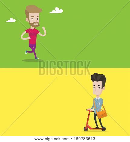 Two lifestyle banners with space for text. Vector flat design. Horizontal layout. Young man riding a kick scooter. Businessman with briefcase riding to work on scooter. Businessman on kick scooter.