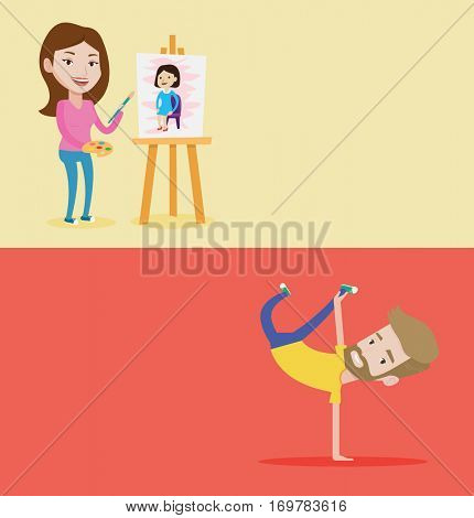 Two lifestyle banners with space for text. Vector flat design. Horizontal layout. Man showing his skills in break dance. Happy breakdance dancer doing handstand. Young smiling man breakdancing.