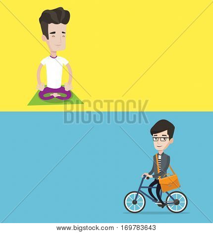 Two lifestyle banners with space for text. Vector flat design. Horizontal layout. Businessman riding a bicycle. Businessman riding bike. Businessman with briefcase on a bike. Healthy lifestyle concept