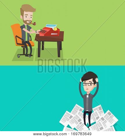 Two media banners with space for text. Vector flat design. Horizontal layout. Young journalist writing an article on a vintage typewriter. Journalist working on retro typewriter and smoking pipe.
