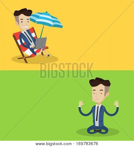 Two lifestyle banners with space for text. Vector flat design. Horizontal layout. Businessman with eyes closed meditating in yoga lotus position. Businessman in suit relaxing in yoga lotus position.