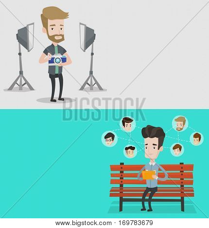 Two media banners with space for text. Vector flat design. Horizontal layout. Photographer holding camera in photo studio. Photographer using professional camera in studio. Young man taking a photo.