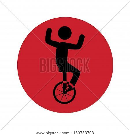 circular silhouette with man in unicycle vector illustration