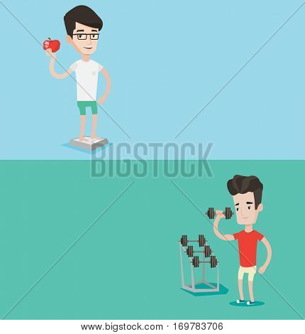 Two lifestyle banners with space for text. Vector flat design. Horizontal layout. Young sporty man lifting heavy weight dumbbell. Sportsman doing exercise with dumbbell. Weightlifter holding dumbbell.