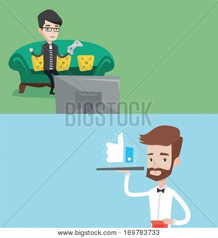 Two media banners with space for text. Vector flat design. Horizontal layout. Waiter carrying tray with like button. Waiter holding restaurant tray with like button. Waiter with social network button.