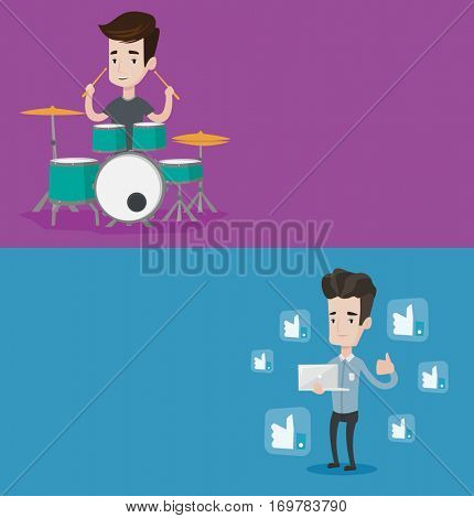 Two media banners with space for text. Vector flat design. Horizontal layout. Young cheerful mucisian playing on drums. Smiling young man playing on drum kit. Happy man sitting behind the drum kit.