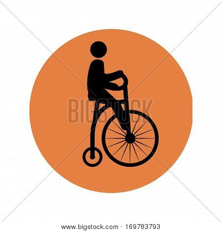 circular silhouette with man in penny farthing vector illustration