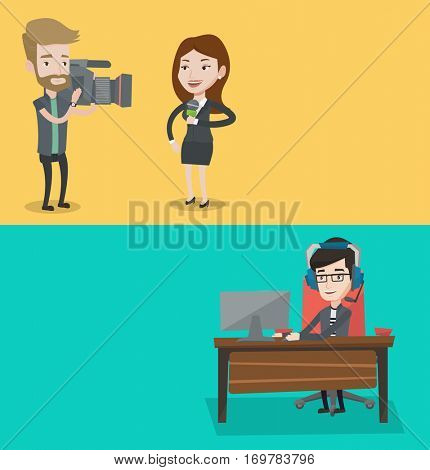 Two media banners with space for text. Vector flat design. Horizontal layout. Professional female news correspondent with microphone presenting the news. Young operator filming news correspondent.