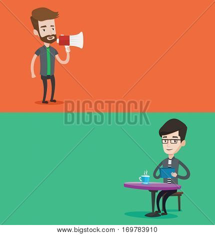 Two media banners with space for text. Vector flat design. Horizontal layout. Hipster man with beard holding megaphone. Man promoter speaking into a megaphone. Young man advertising using megaphone.