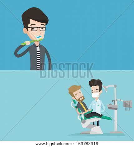 Two medical banners with space for text. Vector flat design. Horizontal layout. Young hipster man sitting in dental chair. Dentist and patient in dental clinic. Patient on reception at the dentist.