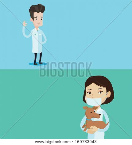 Two medical banners with space for text. Vector flat design. Horizontal layout. Doctor in medical gown showing ok sign. Smiling doctor gesturing ok sign. Young caucasian doctor with ok sign gesture.