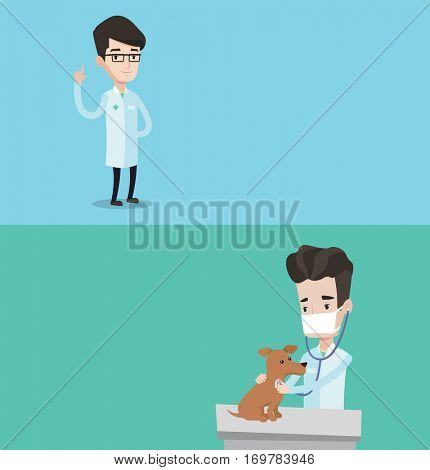 Two medical banners with space for text. Vector flat design. Horizontal layout. Young male veterinarian examining dog in hospital. Caucasian veterinarian checking heartbeat of a dog with stethoscope.