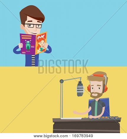 Two media banners with space for text. Vector flat design. Horizontal layout. Caucasian man reading a magazine. Young man standing with magazine in hands. Happy man reading good news in a magazine.